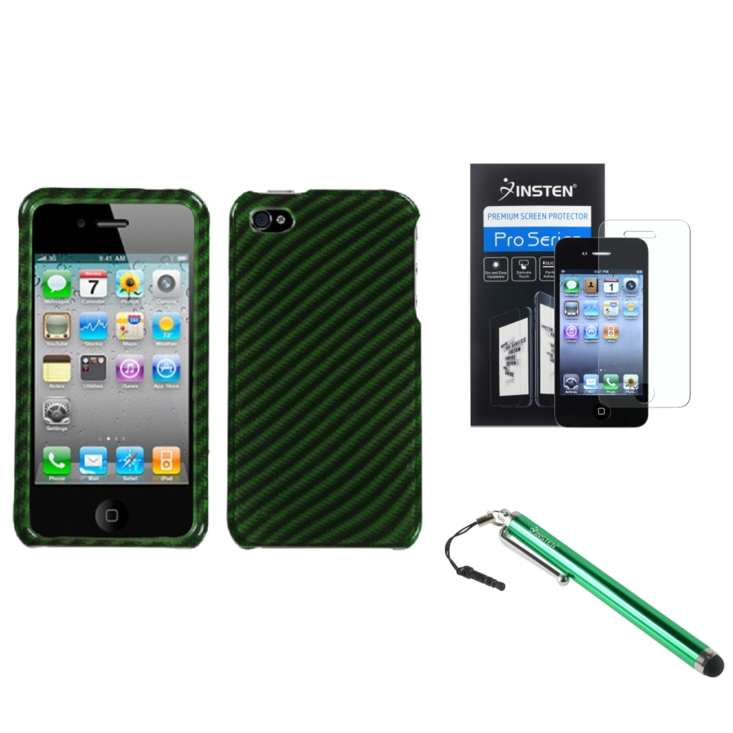 Insten Racing Fiber/Dr Green (2D Silver) Phone Case For iPhone 4 4S + Stylus + LCD Film