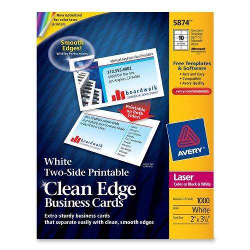 "Avery Clean Edge Business Card - For Laser Print - 3.50"" X 2"" - 1000 / Box - White (AVE5874)"