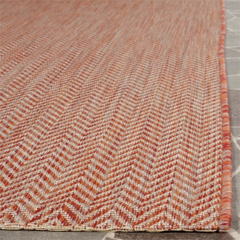 """Safavieh Courtyard 2'3"""" X 12' Power Loomed Rug in Red and Beige - image 3 of 7"""
