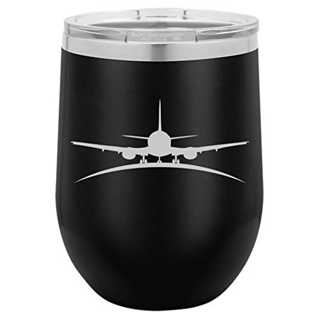 Pilot And Flight Attendant Costume (12 oz Double Wall Vacuum Insulated Stainless Steel Stemless Wine Tumbler Glass Coffee Travel Mug With Lid Airplane Pilot Flight Attendant)