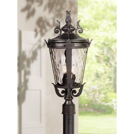 John Timberland Traditional Outdoor Post Light Textured Black Scroll 25