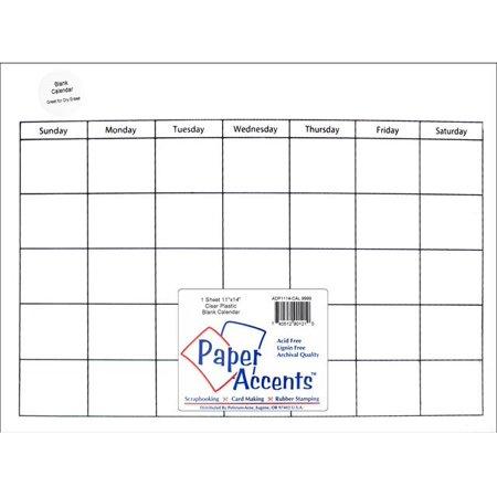 Calendar Page 11X14 Clear Plastic 1Pc