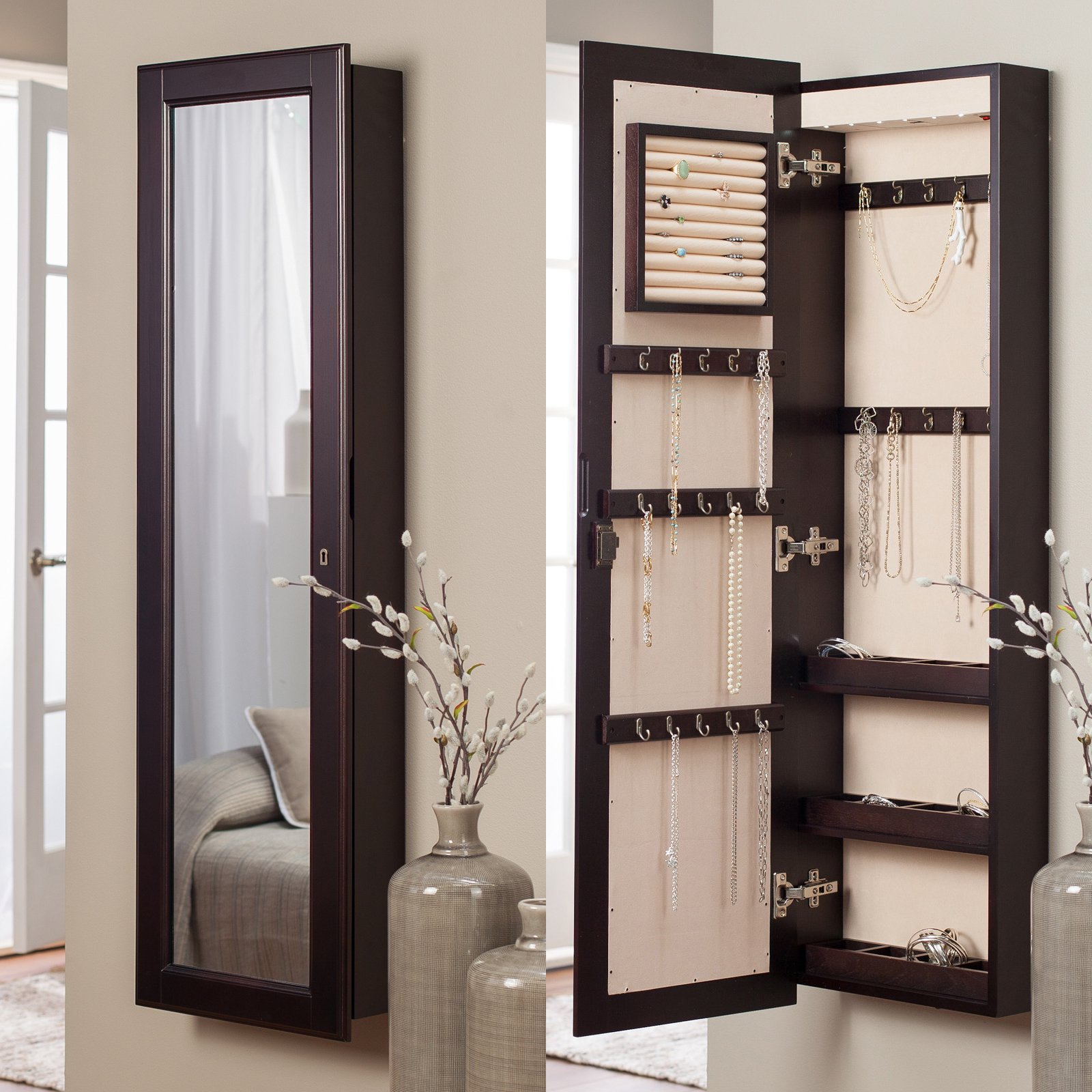 Belham Living Lighted Wall Mount Locking Jewelry Armoire - Espresso - 14.5W x 50H in.