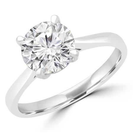 Majesty Diamonds MD180529-3 0.5 CT Round Diamond Solitaire Engagement Ring in 14K White Gold - Size 3 - image 1 of 1