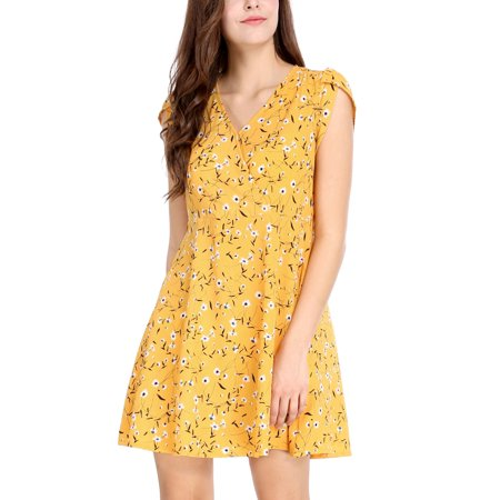 2d95b384e37e Women Floral Crossover V Neck Petal Sleeves Flowy Dress w Belt Yellow XS -  image 1 ...