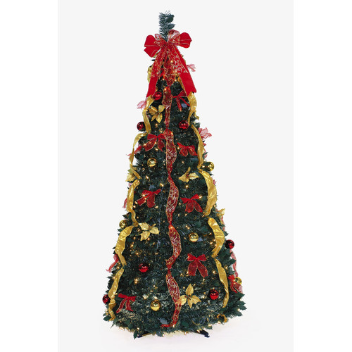 LB International Pop Up 6' Green Artificial Christmas Tree with 350 Clear Lights