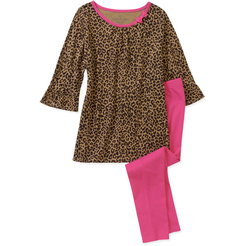 Faded Glory Little Girls 2 Piece Aline Long Sleeve Top and Legging Set