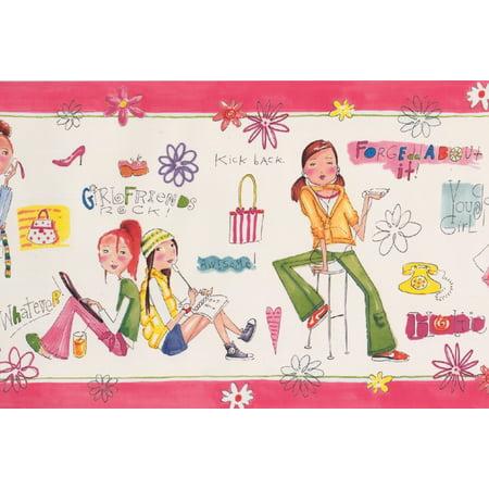 Girls Rule Rock Alabaster White Hot Pink Trim Teens Wallpaper Border for  Bedroom Bathroom, Roll 15\' x 9\