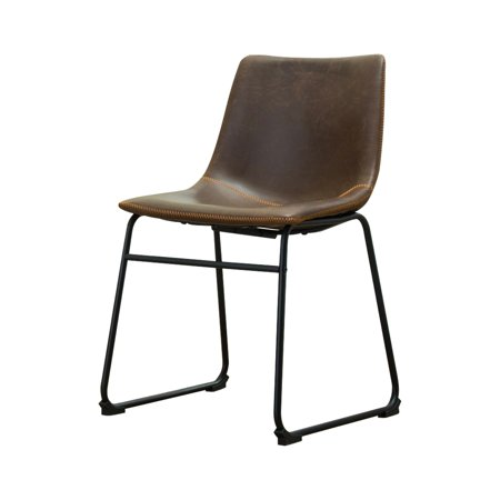 Roundhill Furniture Lotusville Vintage PU Leather Dining Chairs, Antique Brown, Set of 2 ()