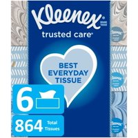 Kleenex Trusted Care Everyday Facial Tissues, 6 Flat Boxes, 144 Tissues per Box (864 Tissues Total)