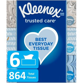 6-Pack Kleenex Trusted Care Everyday Facial 144 Count Tissues