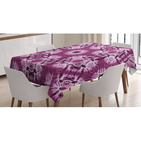 Tie Dye Decor Tablecloth, Indonesian Oriental Trippy Motive with Morphing Spotted Murky Shapes Image, Rectangular Table Cover for Dining Room Kitchen, 52 X 70 Inches, Violet White, by Ambesonne - Tie Dye Tablecloth