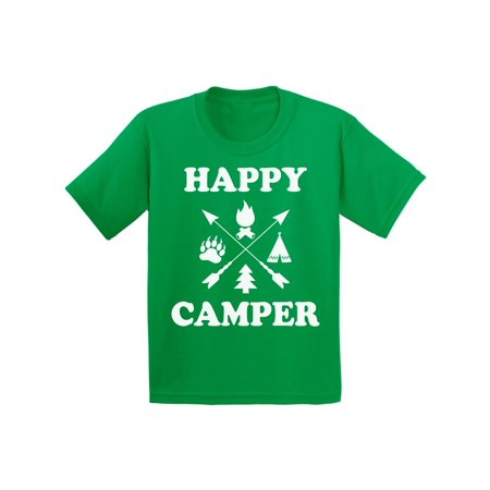 Awkward Styles Happy Shirt for Kids Happy Cute Camper Shirt for Kids Camping T Shirt for Boys Happy Camper Shirt for Girls Camping Lovers Gifts Camper T Shirt for Children Happy Camper Shirt for Kids