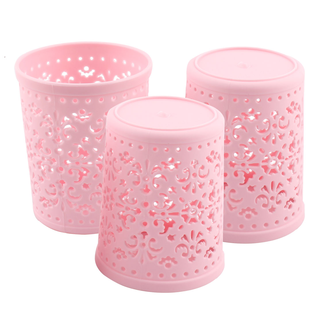 Home Plastic Cylinder Hollow Out Sundries Holder Storage Basket Box Pink 3 Pcs