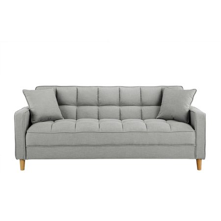 Modern Tufted Small Space Living Room Sofa, Light Grey