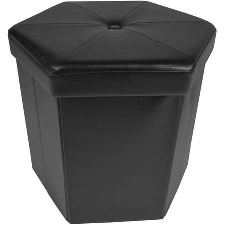 Achim Collapsible Hexagon Storage Ottoman, Black Faux Leather, 15