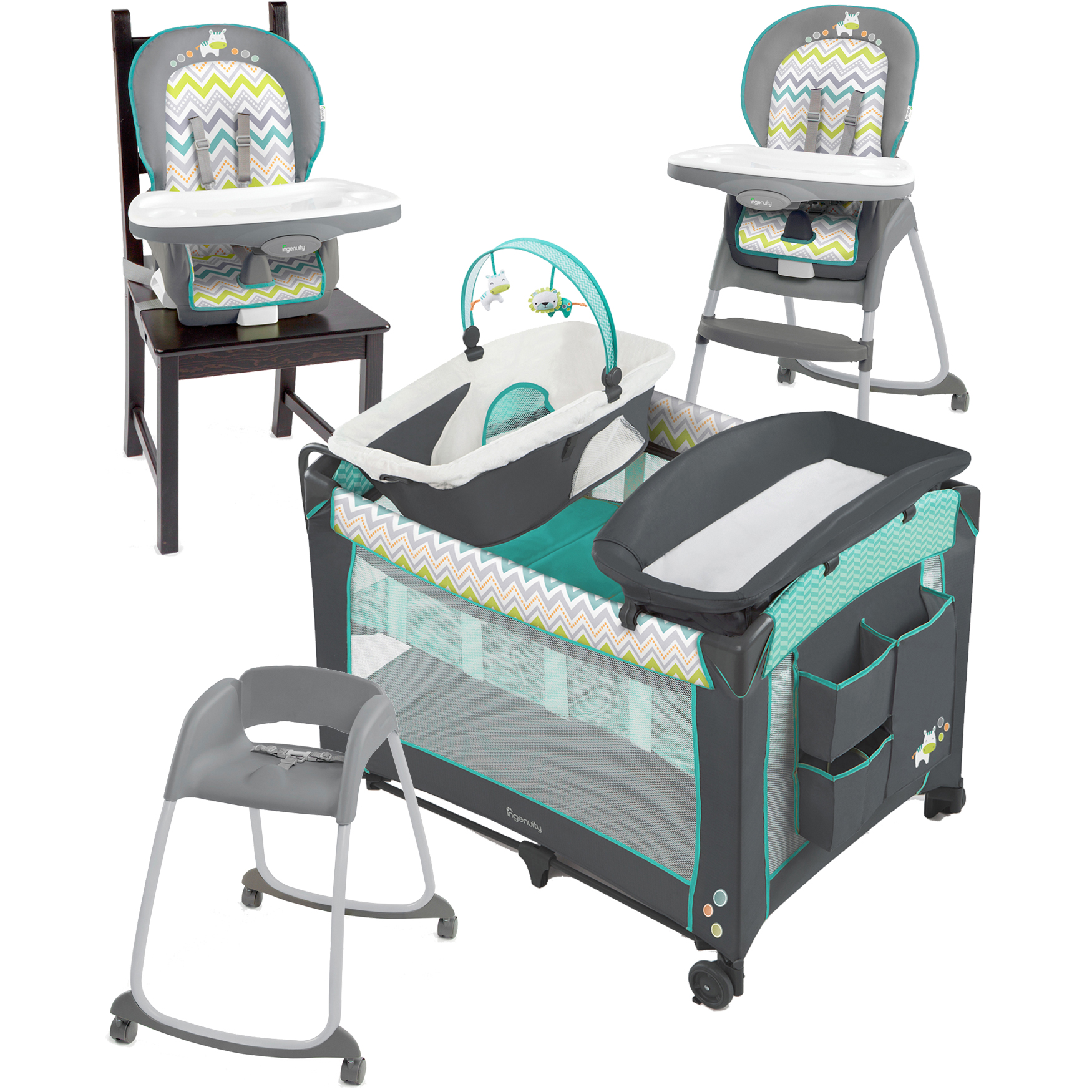 Ingenuity Ridgedale Collection Playard and High Chair Value Set