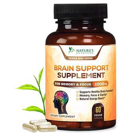 Premium Brain Support Supplement (Extra Strength) Brain Memory Pills for Focus & Clarity. Natural Nootropic Booster w DMAE, Bacopa, Glutamine, Vitamins & Minerals by Nature's Nutrition - 120 (Best Brain Booster Vitamins)