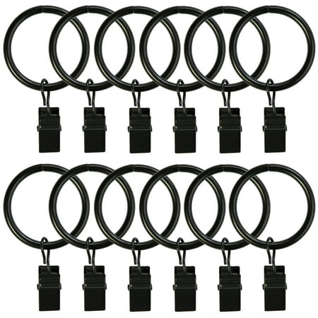 Curtain Rings with Clips 25 Pack Metal Curtain Clips Decorative Drapery Rings (1.26 Inch Interior Diameter Matte Black) ()