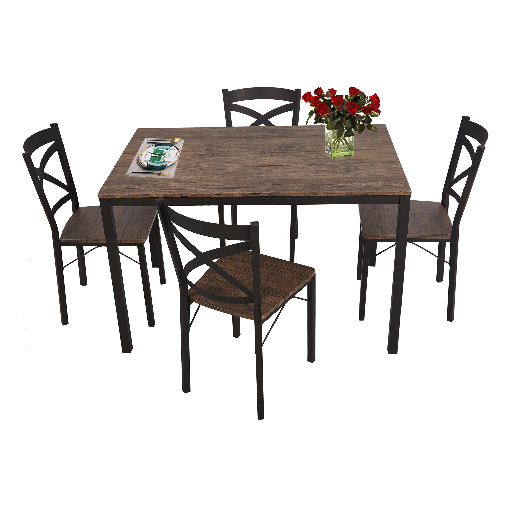 Karmas Product 5 Piece Dining Table Set for 4 Chairs Wood and Metal Kitchen Table Modern and Sleek Dinette