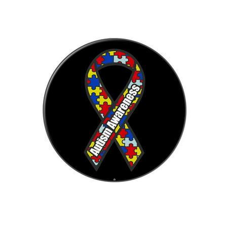 Autism Awareness Ribbon on Black Lapel Hat Pin Tie Tack Large Round ()