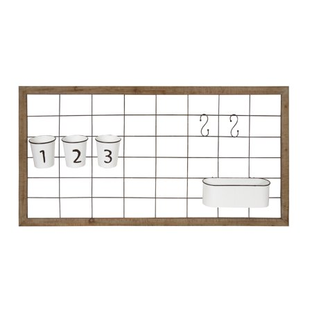 Kate and Laurel Herrington Multi-Functional Photo Wall and Organizing Command Center with Enamel Finished Storage Buckets and S-Hooks, Rustic Brown Wooden Frame and Metal Wire Grid