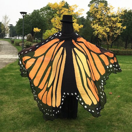 Butterfly Wings Pattern Printing Cape Butterfly Cloak (Adult Size;No Sticks)