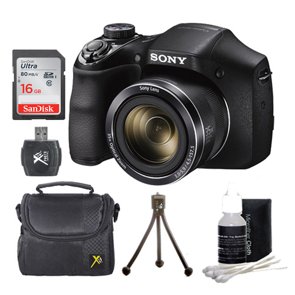Sony DSC-H300/B DSCH300 H300 H300B DSCH300/B Digital Camera (Black) Bundle w/ 16GB Ultra SDHC UHS Class 10 Memory Card, SD Card Reader, Table Top Tripod, Padded Case, Lens Cleaning Kit