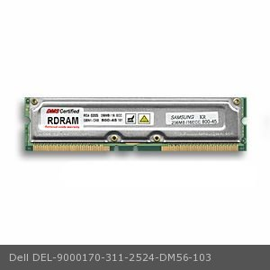 800 Mhz Rdram Kit (DMS Compatible/Replacement for Dell 311-2524 OptiPlex GX200 800 256MB DMS Certified Memory ECC 800MHz PC800 184 Pin RIMMs (RDRAM) - DMS)