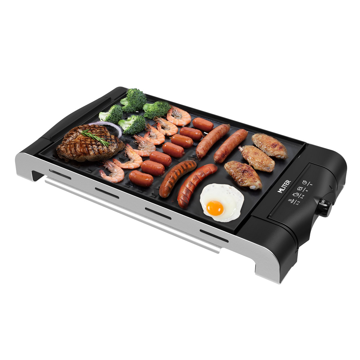 Mliter Electric Non-stick Table Top Grill and Griddle, Indoor Barbecue Hotplate, 1120 Watts