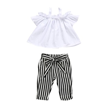 Toddler Kids Baby Girl Off Shoulder Tops T-Shirt Stripe Pants Outfits Sunsuit