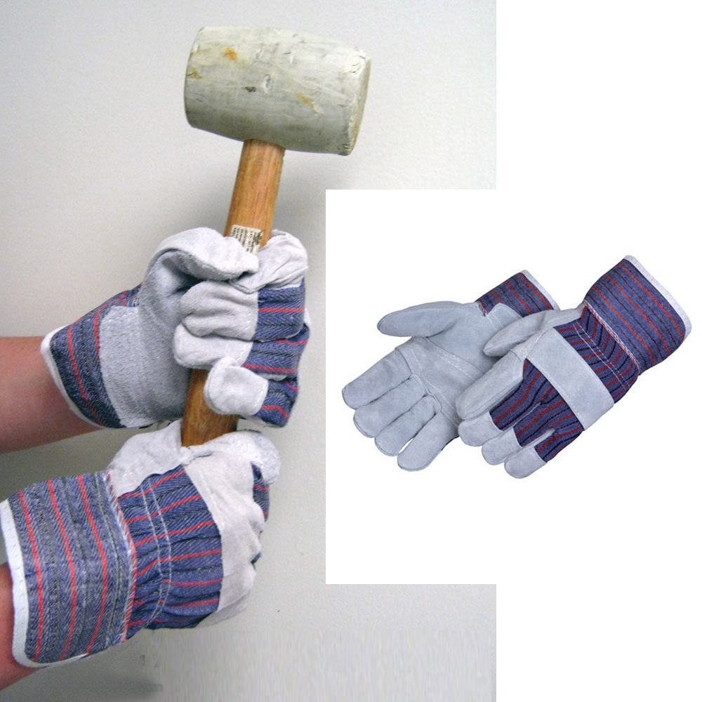 12 Pair Work Gloves Split Leather Reinforced Palm Protective Men Utility Garden