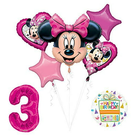 NEW Minnie Mouse 3rd Birthday Party Supplies Balloon Bouquet Decorations (Minnie Mouse Birthday Decorations)