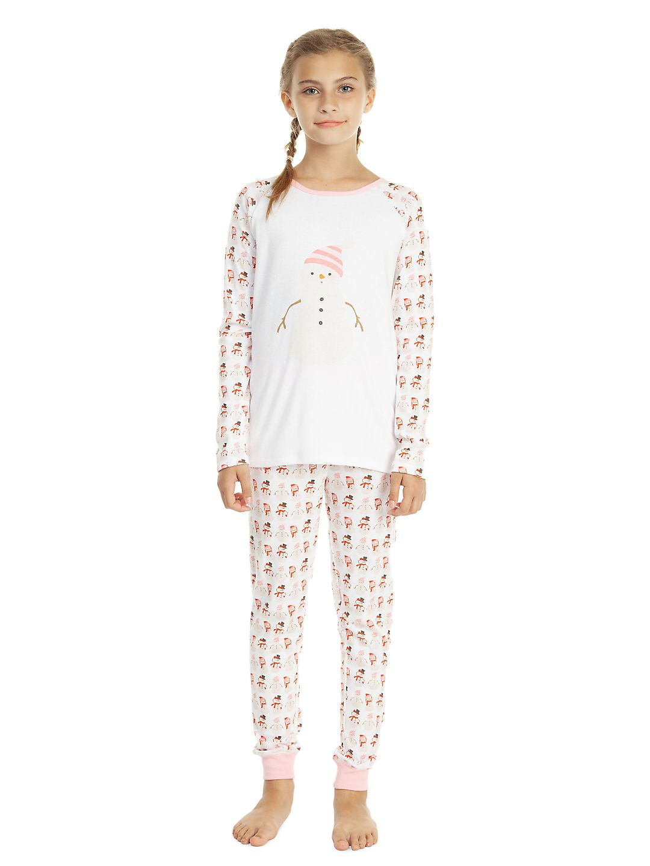Girl's Two-Piece Snowman Pajama Set