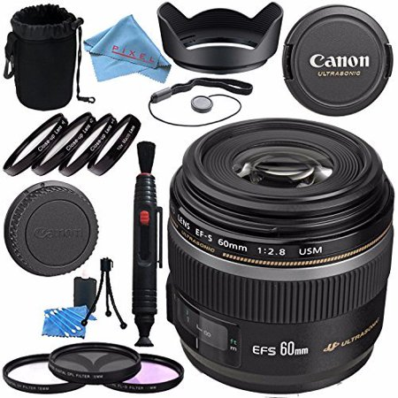 Canon EF-S 60mm f/2.8 Macro USM Lens 0284B002 + 52mm 3 Piece Filter Kit + 52mm Macro Close Up Kit + Lens Cleaning Kit + Lens Pen Cleaner + 52mm Tulip Lens Hood