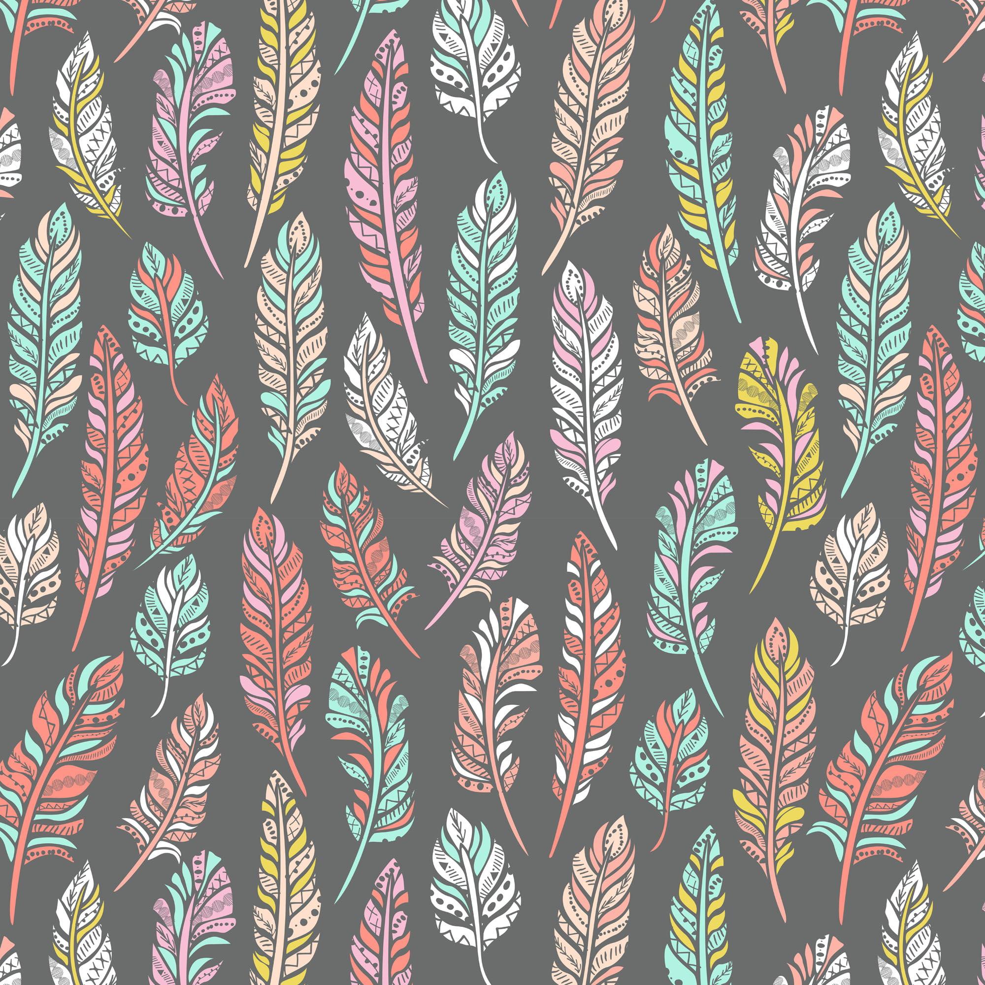 David Textiles Anti-pill Fleece Precut Fabric Ethnic Feathers 1.5 Yds X 60 Inches
