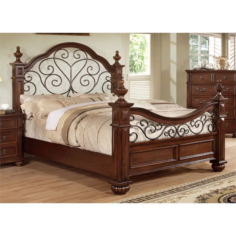 Furniture of America Eason King Poster Bed in Antique Dark Oak