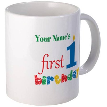 Cafepress Personalized Blue Candle With Colorful Text 1st First Birthday Mug