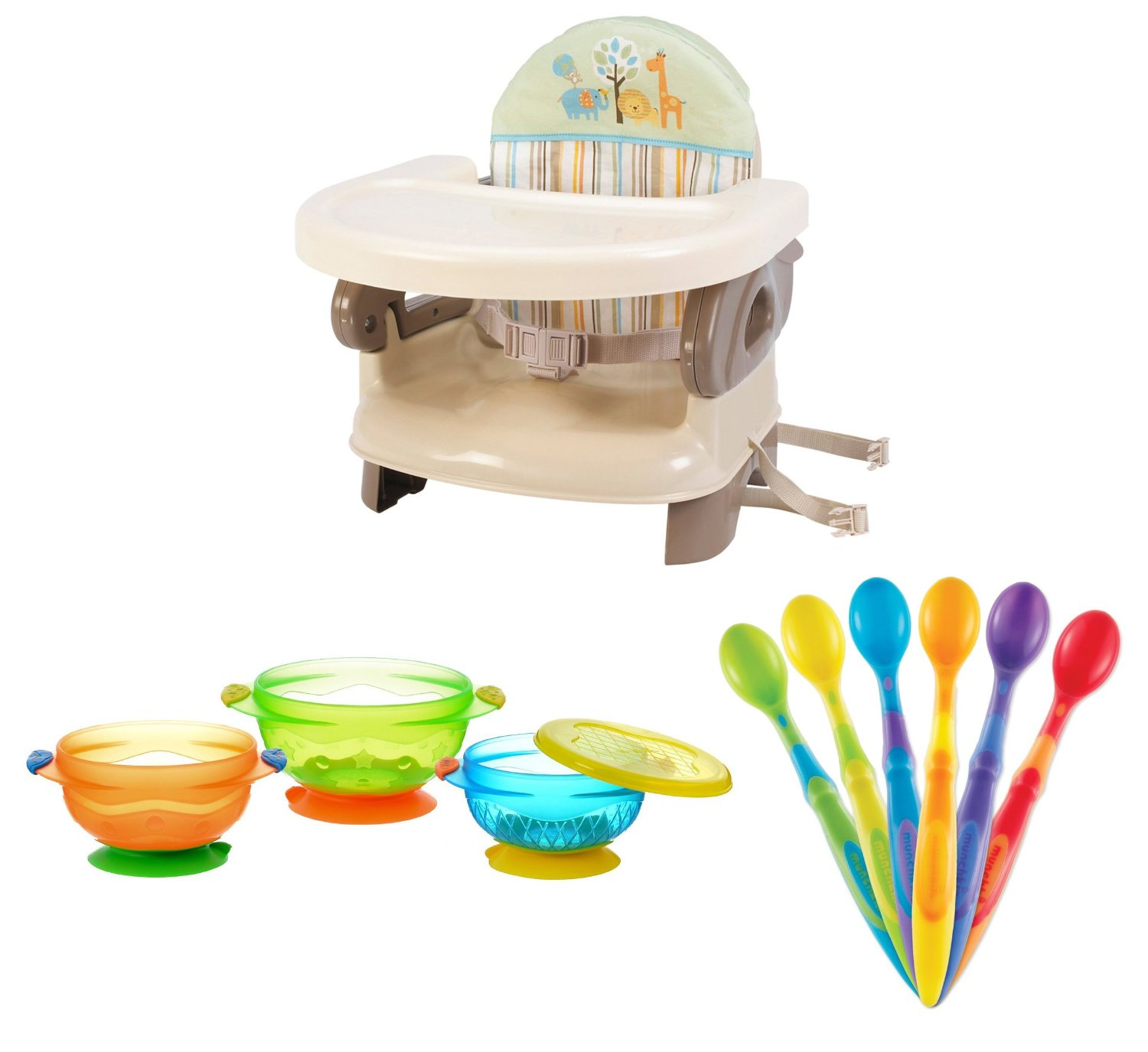 Summer Infant Deluxe Comfort Booster (Safari Stripe) with Soft-Tip Infant Spoons and Stay Put Suction Bowls by Summer Infant