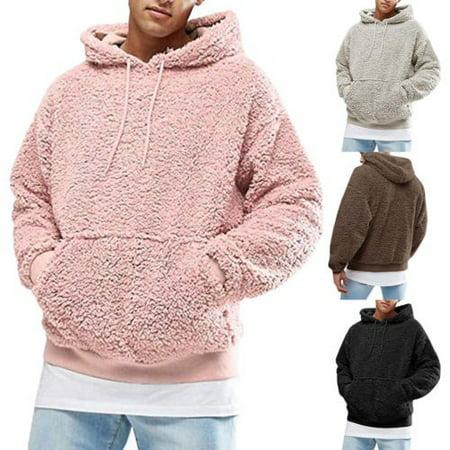 Mens Pullover Hoodie Fluffy Fleece Shirts Hooded Tee Sweatshirt