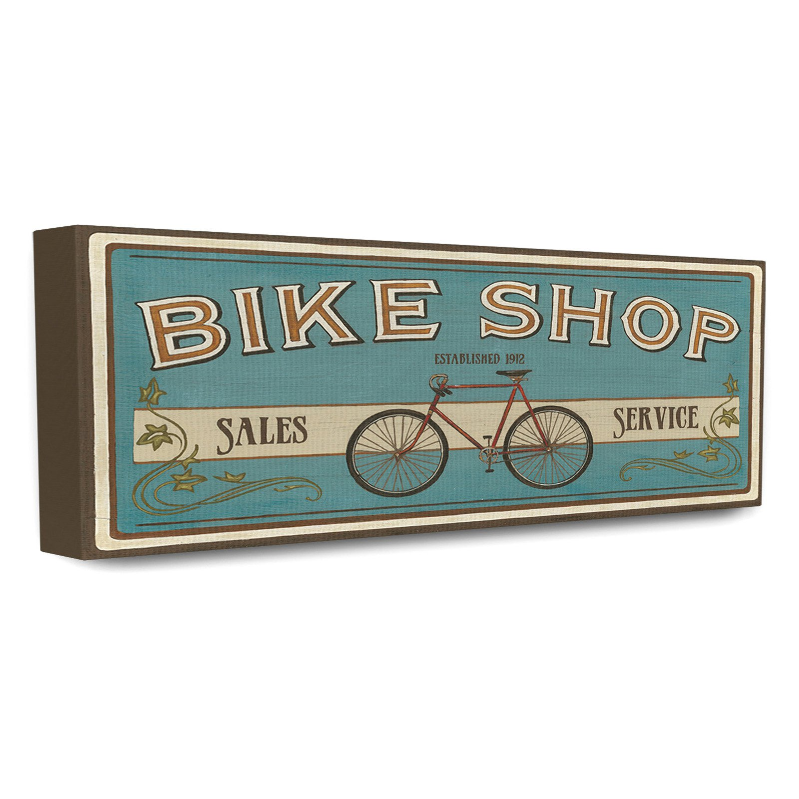 The Stupell Home Decor Collection Blue Bike Shop Store Sign Canvas Wall Art