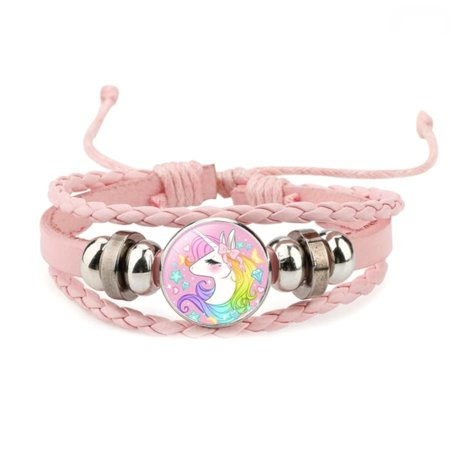 Unicorn Pink Three Strand Braided Pulse Trying Adjustable Bracelet J-UC-1 (Unicorn Bracelet)