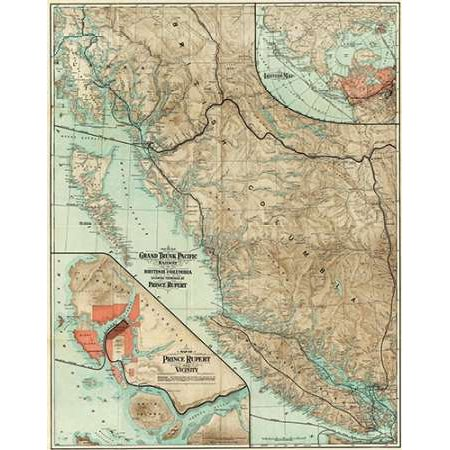 (Map of The Grand Trunk Pacific Railway In British Columbia 1910 Poster Print by Grand Trunk Pacific Railway)