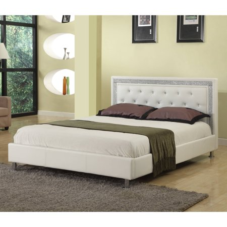 Best Master Furniture Upholstered Platform Bed, White Faux Leather, Cal