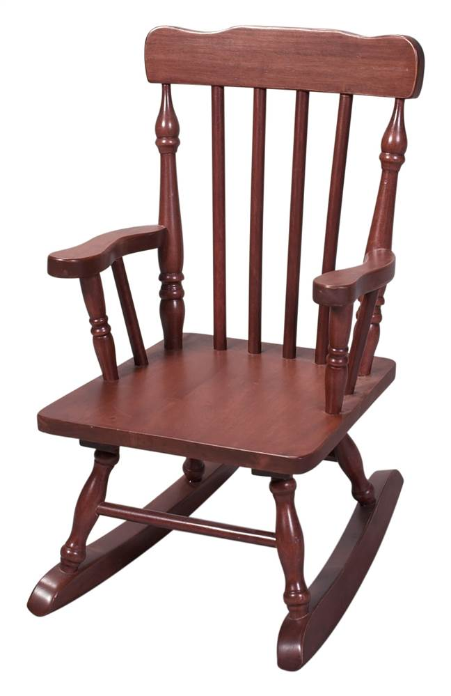Kids Colonial Style Wood Rocking Chair w Cherry Finish by Gift Mark