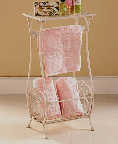white metal bathroom table stand toilet paper holder bar towel