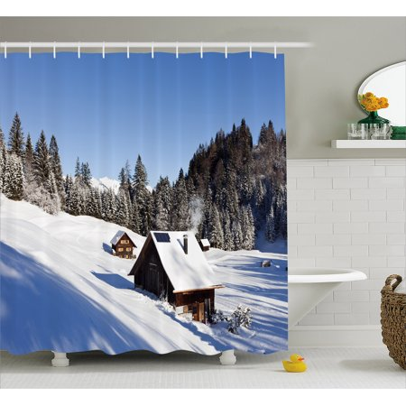 Winter Shower Curtain  Log Cabins In The Mountains Sunny Winter Day Rural Scene Holiday Vacation  Fabric Bathroom Set With Hooks  69W X 84L Inches Extra Long  Blue Brown White  By Ambesonne