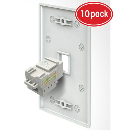 - 1 Port Cat6 Wall Plate, GearIT 10-Pack Cat 6 RJ45 Wall Plate with Punch Down Keystone Jack Ethernet Connector, White