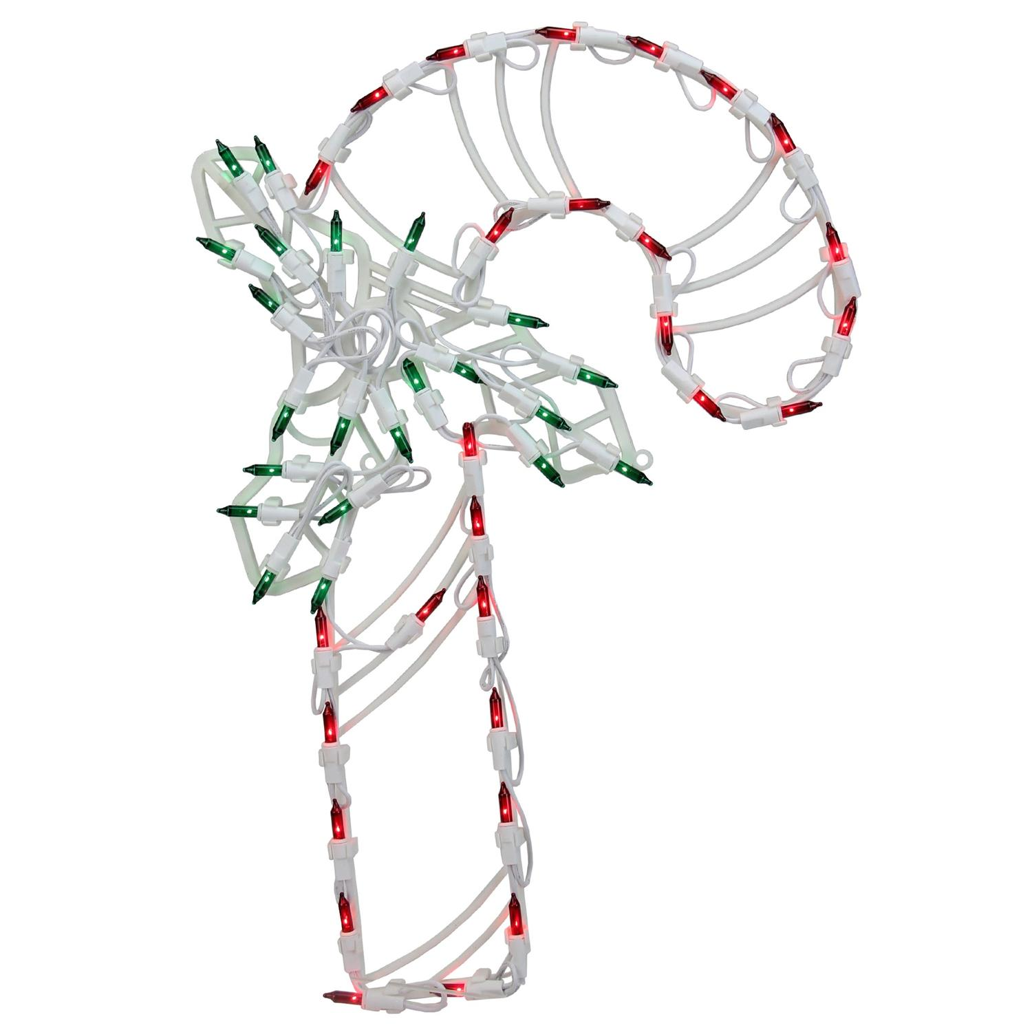 "18"" Lighted Candy Cane with Holly Christmas Window Silhouette Decoration"