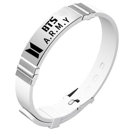 Half Wrist Bracelet (Fancyleo 1 Pcs BTS KPOP Bangtan Boys Silicon Wristband Stainless Steel Signature Bracelet )